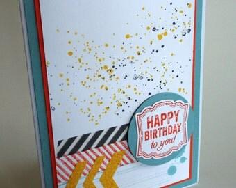 Handmade geometric chevron collage Happy Birthday card, child birthday, teen birthday, best friend, cutest baby, washi tape