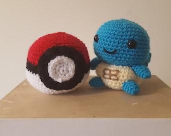 Amigurumi Crochet Pokeball & Squirtle-Pokemon Set of 2