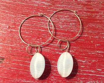Sterling silver hoops with pale blue beads