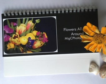 Desk Calendar 2017 ''Flowers All Year Around'', Floral Prints, Photography Art, Home And Office Decor, 2017 Calendar, Photo Calendar