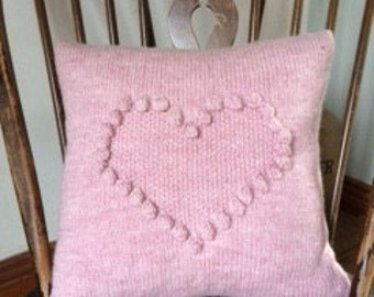 Pink heart cushion alpaca blend hand knitted