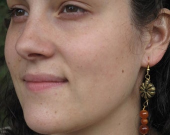 Earrings orange and gold - gold and orange dangles earrings