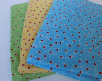 Blue, Yellow and Green Cherry Fabric