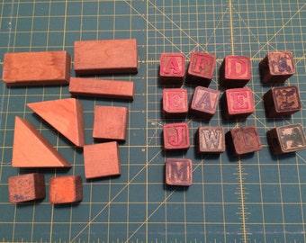 Vintage wood alphabet building blocks nursery, 13 alphabet blocks and 9 plain blocks