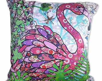 Flamingo Cushion with fiber pad - Decorative pillow - Cotton Chair Cushion - Pillow Cushion - Printed Cushion - Tropical soft furnishings