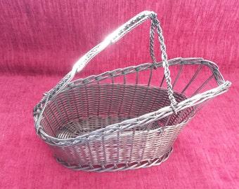 Vintage silver plate wine basket