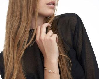 Open gold bracelet, Simple bracelet, Stackable bracelet, Cubic zirconia bracelet, Open gold bangle, Gold open cuff, Two stone bracelet