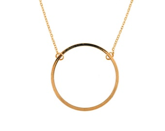 "Necklace ""lune"" with great circle gold plated 24 k, french-modern-minimalist"