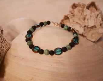 Glass, Lava Rock, Turquoise Beaded Ocean Bracelet