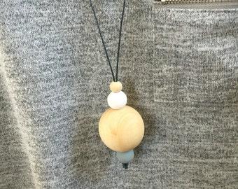 long slip on/over monotone wooden beads