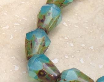 15 Aqua Picasso Bottom Cut Faceted Teardrop Vertical Hole Czech Glass Beads