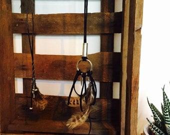 Beaded leather fringe necklace