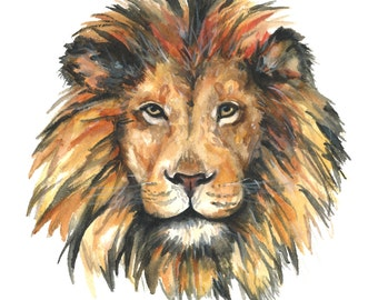 Lion watercolor print, Lion watercolor painting, Lion art print, Lion art, Lion print