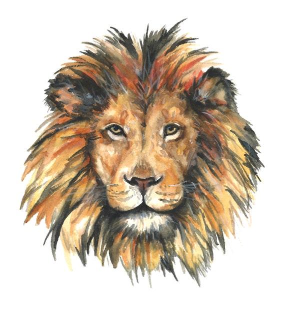 tirage aquarelle lion peinture laquarelle lion impression. Black Bedroom Furniture Sets. Home Design Ideas