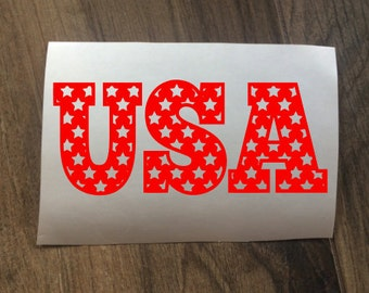 Patriotic United States of America USA Decal Sticker / 4th of July and Independence Day / Labor Day / Stars USA Decal