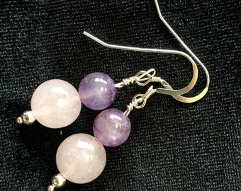 Rose Quartz and Amethyst Sterling Silver Earrings