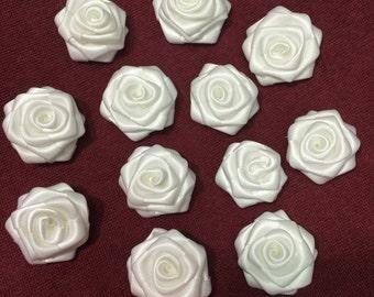 """White Satin Ribbon Rolled Rose, 1.5"""", Satin Rosette, Wholesale Flower , Floral Embellishment, fabric flower"""