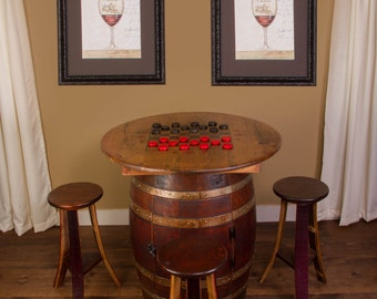1097 Whiskey Barrel Game Table Set