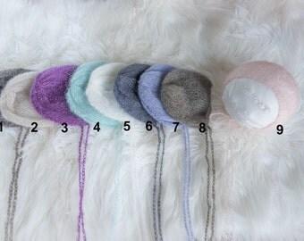 Newborn mohair bonnet,baby bonnet,newborn bonnet,mohair,photo props,photography props,baby bonnet,blue,pearl,denim,newborn props,soft hat