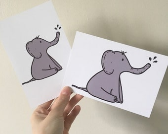 "Elephant Illustration 6x4"" Print"