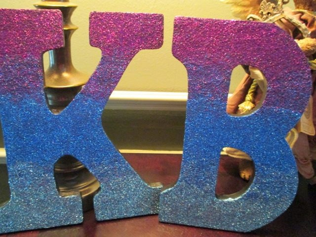 Glitter ombre wooden letters by starheartsandroses on etsy for Sparkly wooden letters
