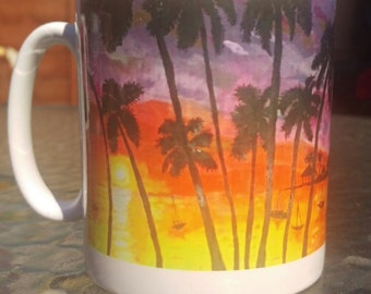 Ceramic Mug, Caribbean Sunset, Original Artwork