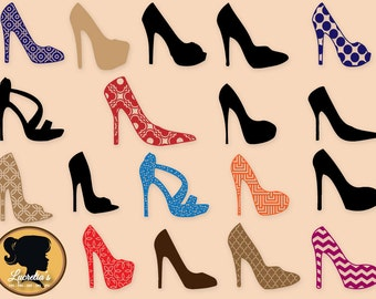 Patterned High Heel Pump Shoe , Silhouette, Background SVG Cut Files for Cricut, Silhouette and other Vinyl Cutters, svg cut files