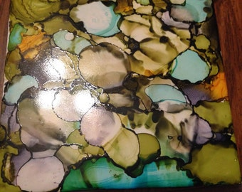 Earthy decorative wall tile 6x6 ceramic tile alcohol inks