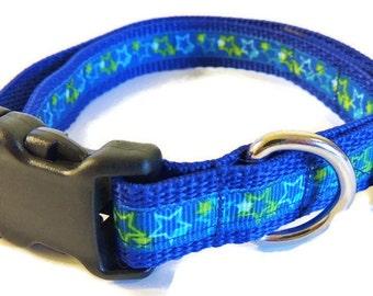 Medium Blue/Green Stars Dog Collar