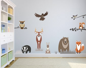 Childrens wall stickers - wall decals for kids bedroom or playroom - forest friends theme  - * introductory price *