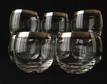 Silver rim Dorothy Thorpe style Roly poly glasses, set of 6