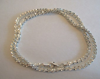 Gorgeous Sparkly Vintage Sterling Silver Popcorn Look Necklace