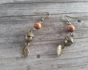 Nature Lover Earrings  / Gift / For Her / Acorns / Leaves/ gold tone