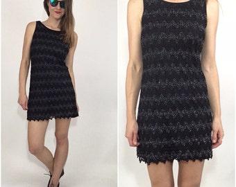 Vintage 90's Black Dress goth grunge little black dress wavy knit dress silver party mini dress