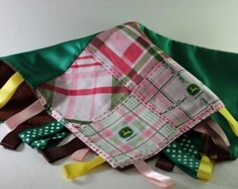 Pink John Deere Tag Blanket
