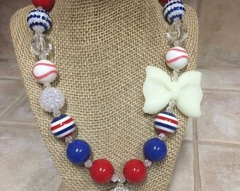 Chicago Cubs Inspired Bead Necklace