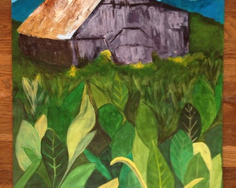 Vivid Tobacco Farm, 2014 - original acrylic painting on paper