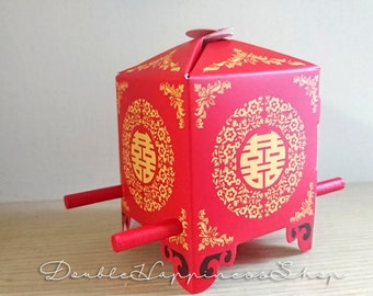 Chinese Carriage Wedding Favor Gift Box Foldable DIY Red Double Happiness - Chinese Wedding (Qty 100) [B2]