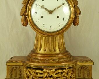 18C Swedish Neoclassical Giltwood Bracket Mantel Clock Silk Suspension Antique