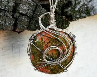 Unakite wire wrapped pendant