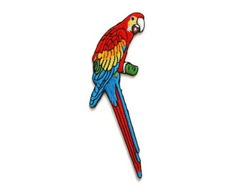 Parrot Bird Embroidered Applique Iron on Patch 6.2 cm. x 13 cm.