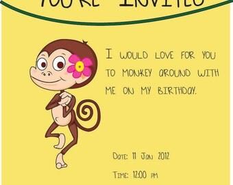 Birthday Monkey Template Invite