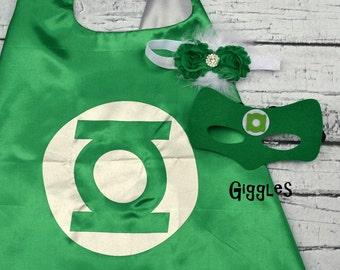 Green Lantern Cape Mask Headband Set - Kids Costume - Superhero - Halloween - Dress Up - Boy Capes - Birthday Party Favors Girl Hair Bow