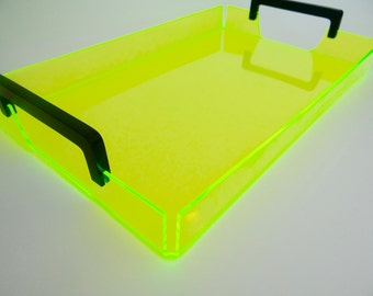 Lucite/Acrylic Neon Tabletop Serving/Decor Tray With Black Handles