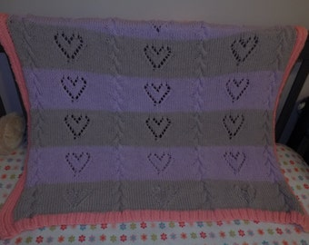 Knitted baby or toddler blanket Pink, Purple, and Grey lace hearts and chains