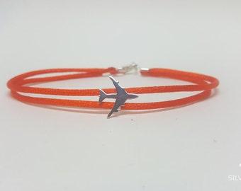 Silver plane, 925 sterling silver, nylon bracelet