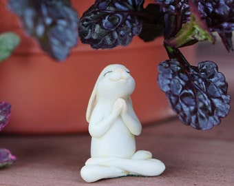 Miniature Dollhouse FAIRY GARDEN ~ Yoga Bunny in Seated Namaste Pose Statue