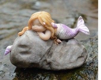 Miniature Dollhouse FAIRY GARDEN ~ Sleeping Mermaid on a Rock  ~ NEW
