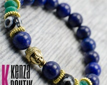 Buddhist bracelet, Natural Stone, Bead Bracelet, Round Agate and Malachite and Gold Tone ,Buddha Head Charm, with Matching Accent Rings