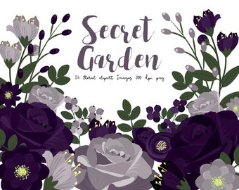 Purple flowers clipart, garden roses